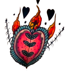 A vector closeup of the model's heart tattoo.