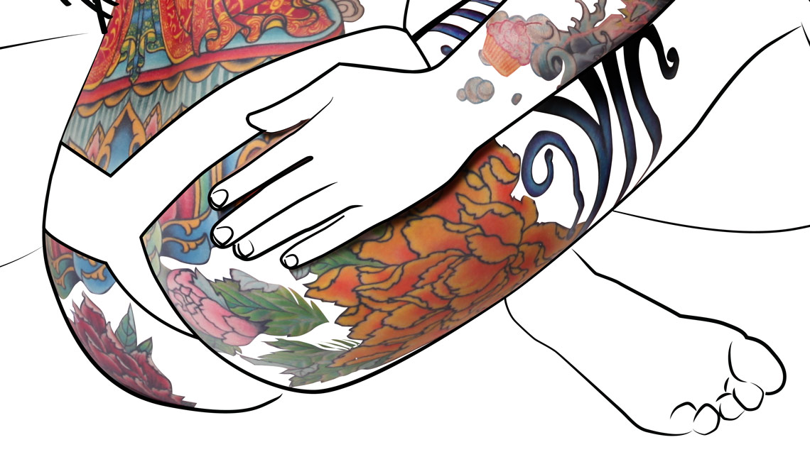 Vector line-art with photographyic masking of tattoos.