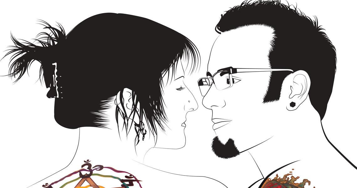 Shar and Ryan Vector Tattoo Illustration Closeup